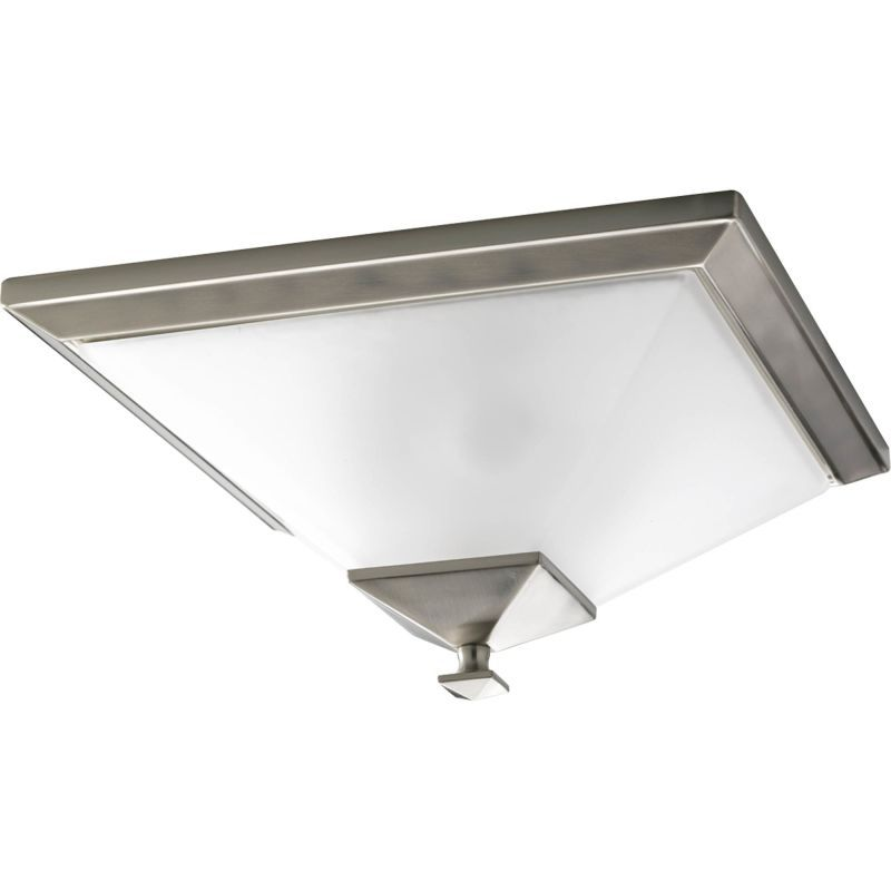 Progress lighting p3852 north park 2 light flush mount ceiling fixture with squa brushed nickel indoor