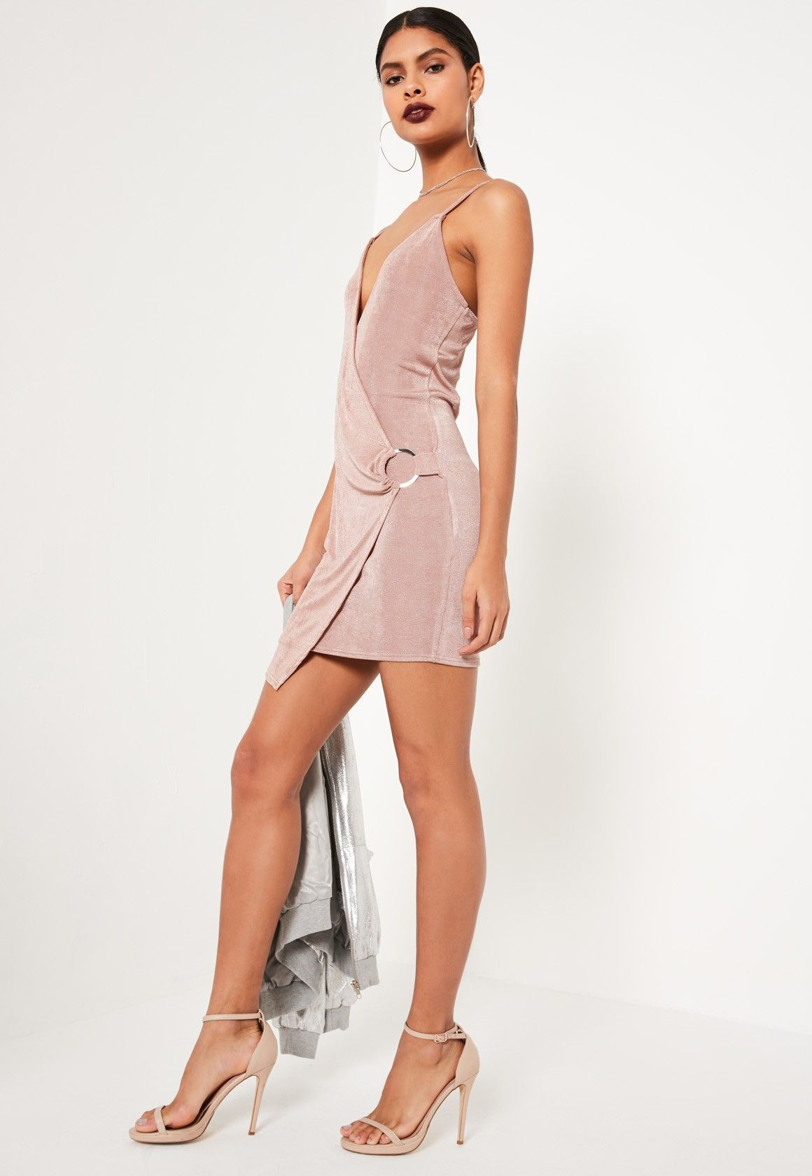 Pink strappy wrap buckle detail bodycon dress missguided bodycon