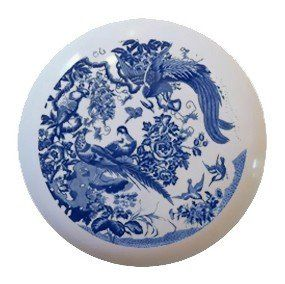 blue willow phoenix floral flower ceramic knobs pulls drawer