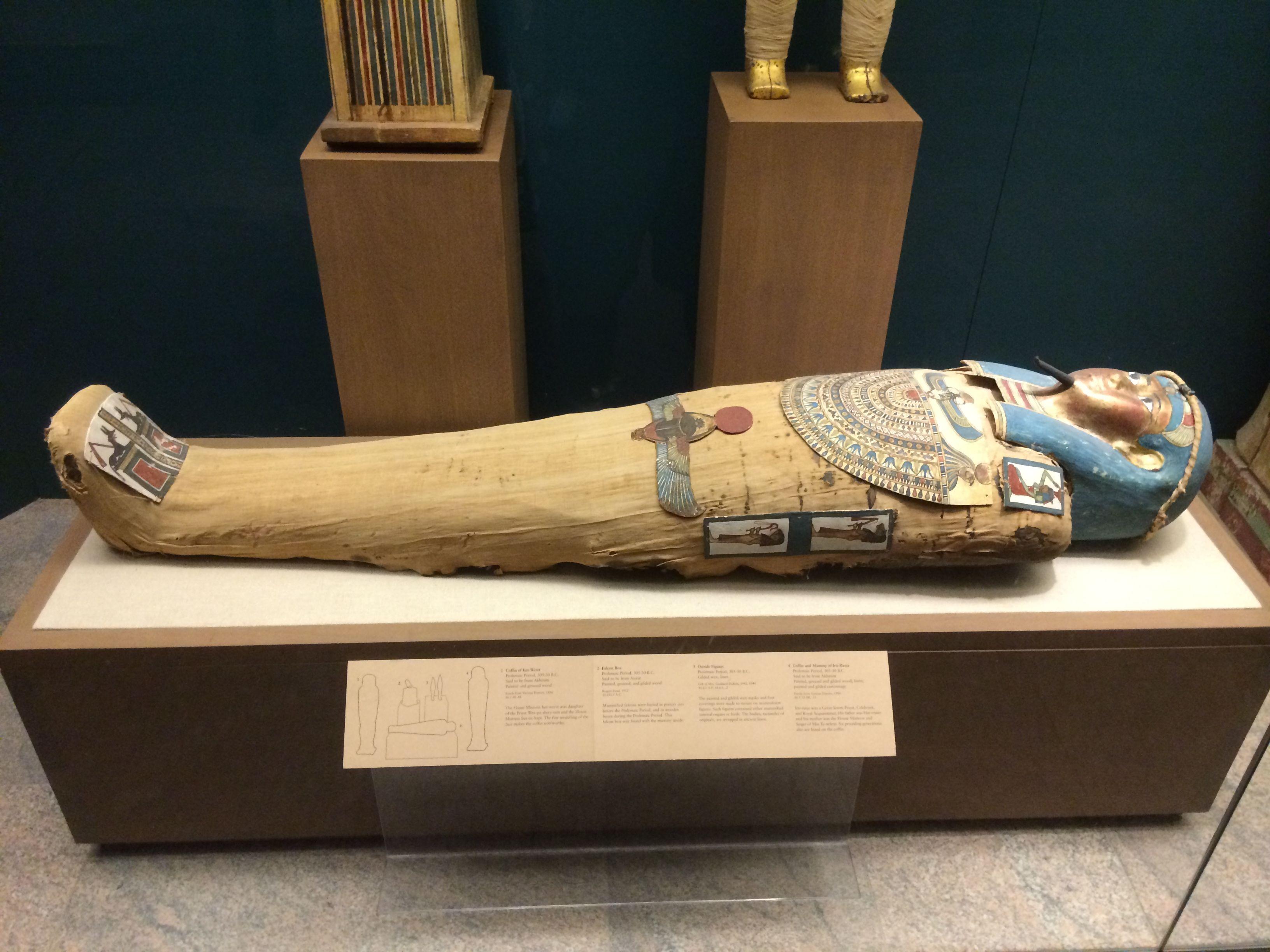 Sarcófago egipcio en madera.