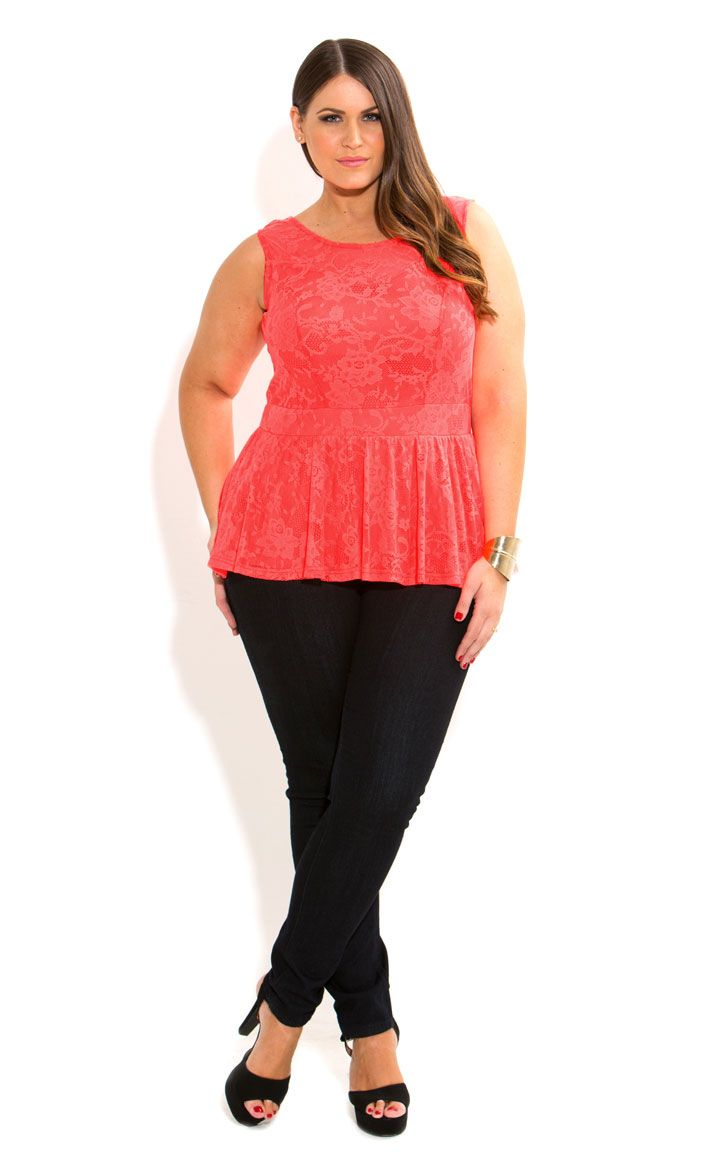 11c574b6c CITY CHIC LACE PEPLUM TOP Túnica Rendada