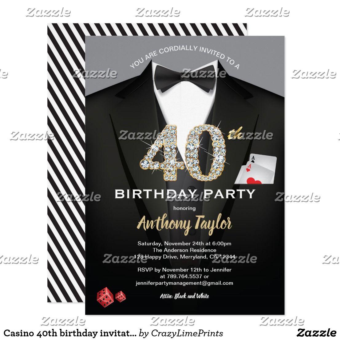 Casino 40th birthday invitation. Black and gold Invitation