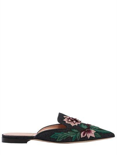ALBERTA FERRETTI 10Mm Embroidered Denim Mules, Denim/Multi. #albertaferretti  #shoes #