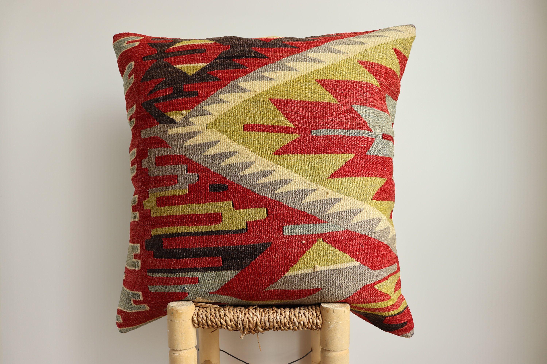 Kilim Pillow 24x24inches 60x60cm Cushion Cover Pillow Cover Handmade Turkish Kilim Pillow Bohemian Vintage Colorful Pillow Cover