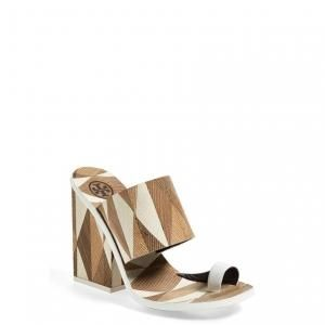 f07909ed00c5b 30% off Tory Burch - Leather Slide Wedge Sandal Toe Loop Ivory Mosaico  Kempner -