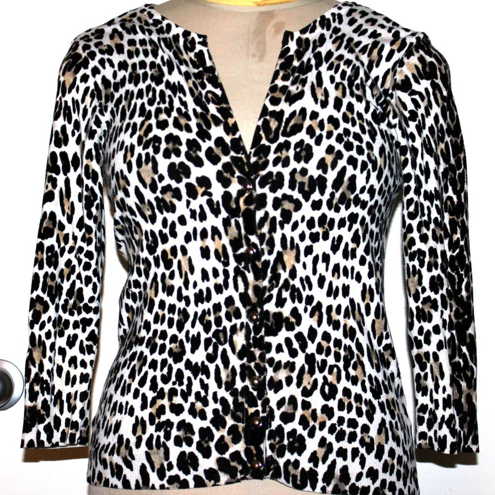 White House Black Market Animal Leopard Print Cardigan Sweater sz ...
