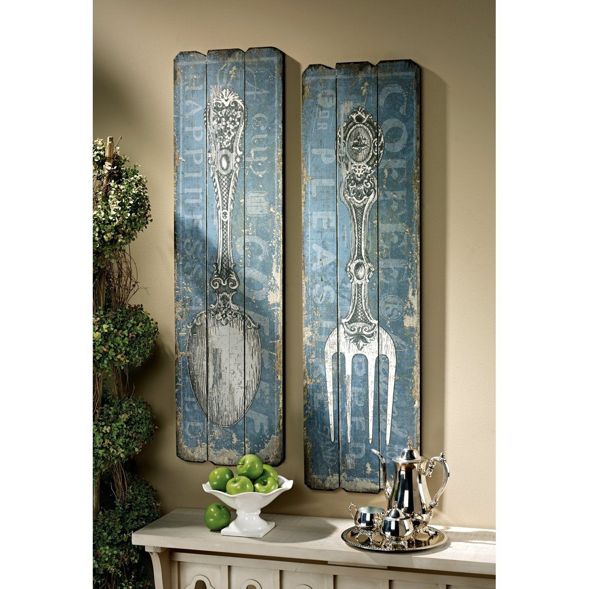 Amazon.com: Vintage Fork and Spoon Wall Art (Set of 2): Home ...
