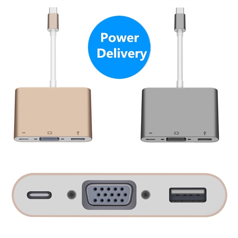 "31.50$  Watch now - http://ali2wt.shopchina.info/1/go.php?t=32696286146 - ""USB-C USB 3.1 Type C to HDMI / VGA Digital AV & USB OTG & USB-C Female Charger Adapter for 12"""" Apple New Macbook""  #shopstyle"