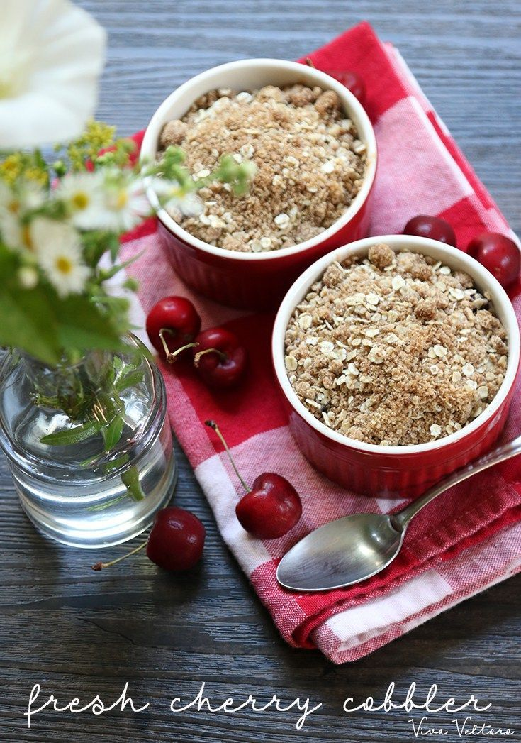 Fresh cherry crisp recipe. This dessert recipe is perfect for cherry season.