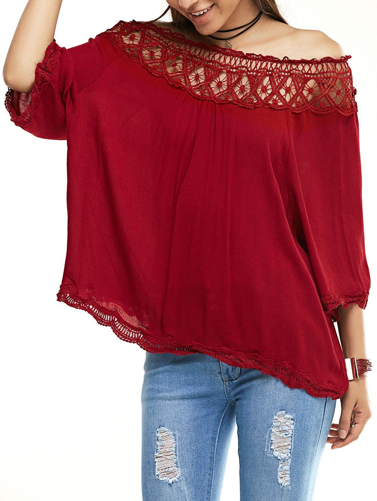 Off the shoulder crochet wine red dress wine shoulder and men hats