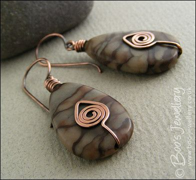 Photo of Natural brown Picasso Jasper teardrop earrings – Hand Crafted Jewellery by Boo – original jewellery in copper, bronze and Sterling silver