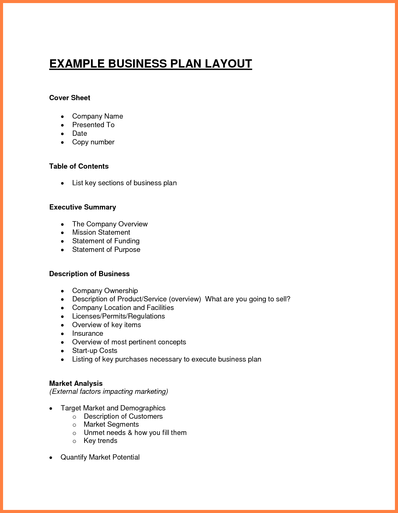12 Exles Business Plan Outline Bussines