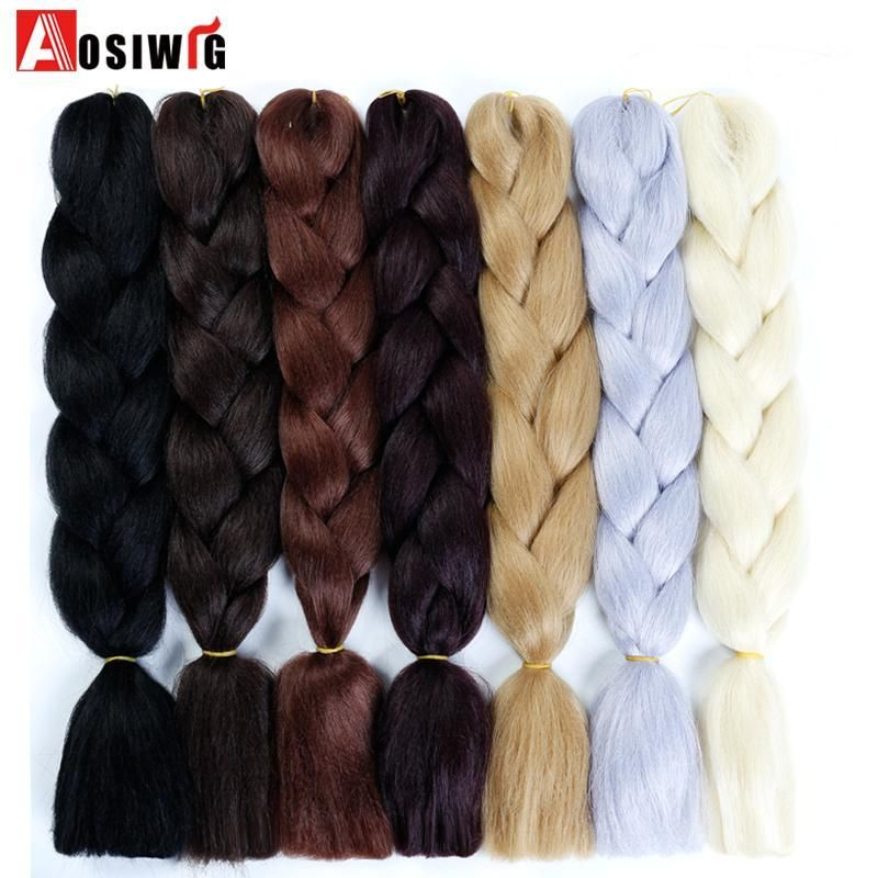 Aosiwig Ombre Braiding Hair 3 Tone Black Brown Pink Color 24inch