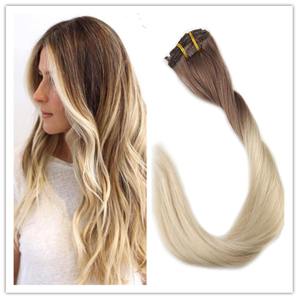 Clip Remy Human Hair Extensions Dip Dye Ombre Extensions