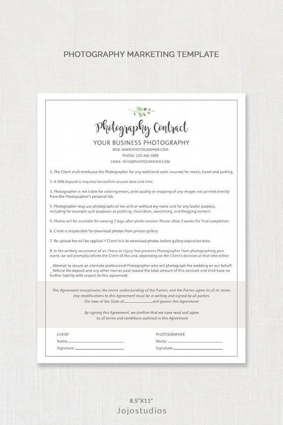 Fully Editable Instant Download Photography Contract Template Form Very Easy And Simple To Use Photography Marketing Photography Contract Photography Business
