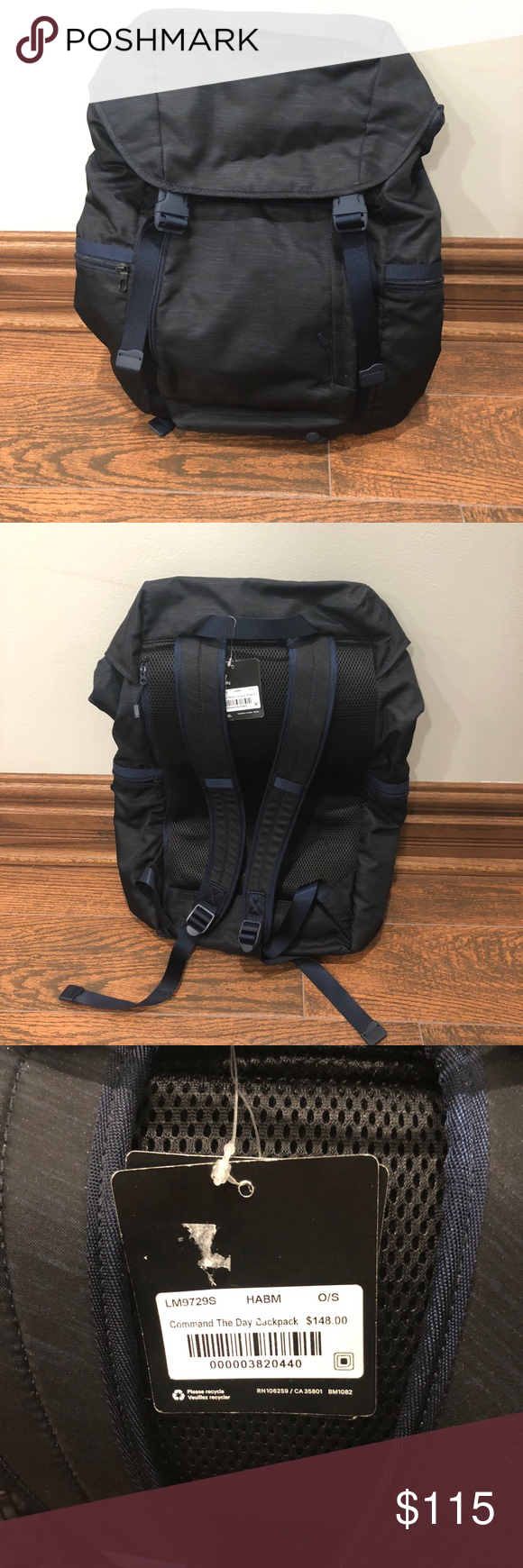 e8b99b30d5b Lululemon Command the Day Backpack Brand new with tags Lululemon men's  command the day backpack. Black with blue details. MSRP $148 lululemon  athletica Bags ...