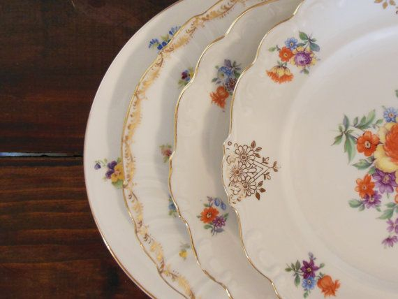 Set of 4 Vintage Mismatched Plates  Mix and Match by DishUponAStar