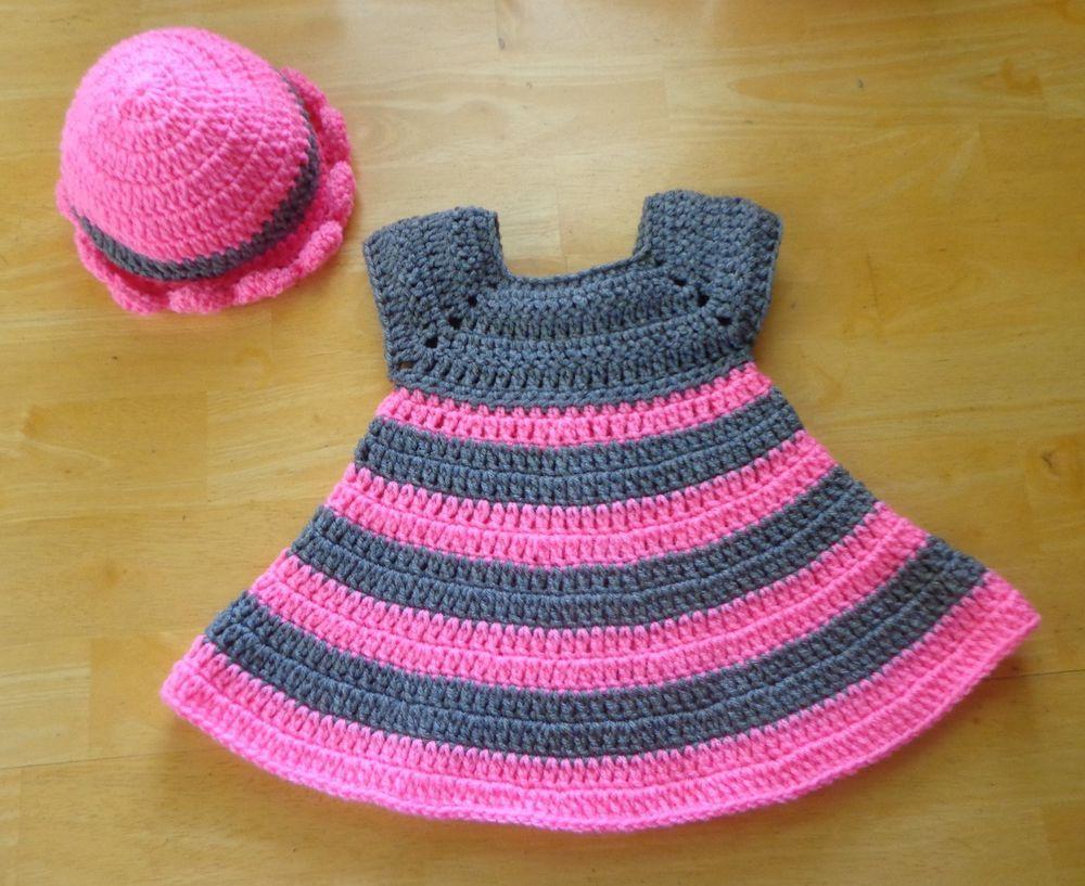 Crochet Baby Dress & Sun Hat 0-6 month Hot Pink & Gray Handmade #Handmade #Everyday