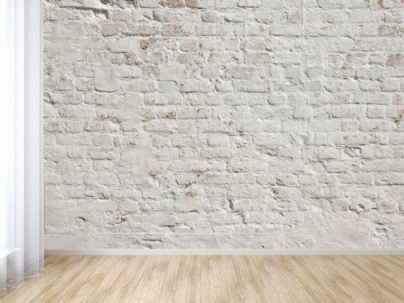 White Washed Brick Peel And Stick Wallpaper Adhesive Vinyl Wallpaper Pattern Wallscape White Brick Wallpaper Kitchen White Brick Wallpaper Brick Wall Decor