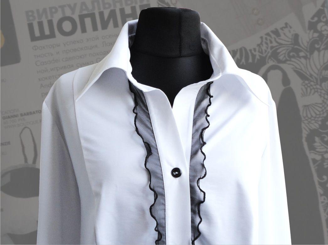 d85c0311da4c8 43$ Белая блузка для полных женщин с черными рюшиками Артикул 514, р50-64