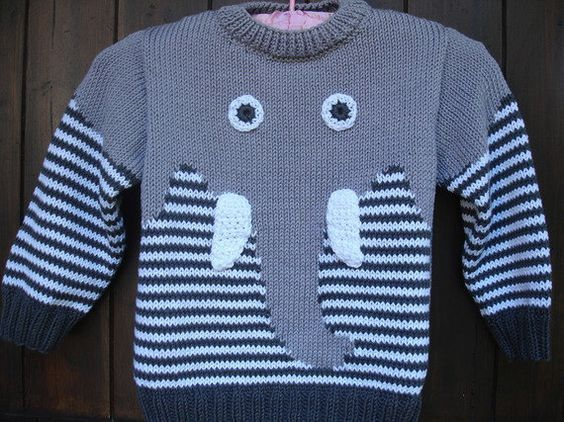 Sweater pattern hand knitted cotton elephant child | Sacos y Dos agujas