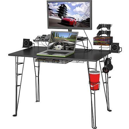 Atlantic Original Gaming Desk With 32 Monitor Stand Charging Station And Gaming Storage Black Carbon Fiber Walmart Com Gaming Desk Black Gaming Computer Desk Good Gaming Desk