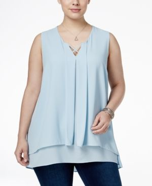 Monteau Trendy Plus Size Tiered Top -
