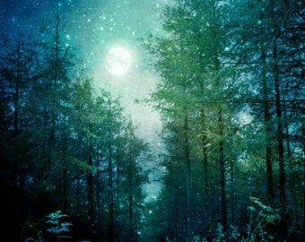 Nature Photography, Beam of Sun Light, Fine Art Print, Sun Ray, Summer Autumn Woodland, Green Yellow, Fairy Land, Magical, Cabin Home Decor