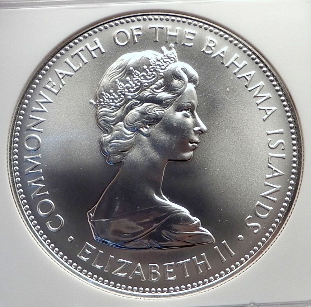 1970 Bahamas Huge 4 5cm Silver 5 Dollars Coin Pirate Defeat Motto Ngc Ms I72138 Rare Stamps Coins Worth Money Coins