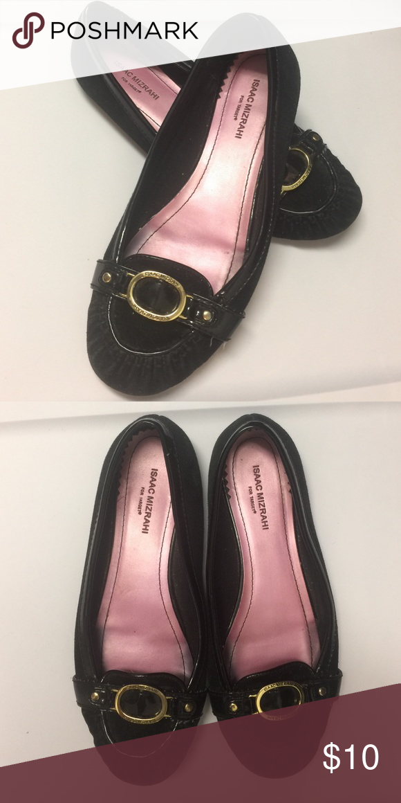 Black Flats with Gold Buckle   Black