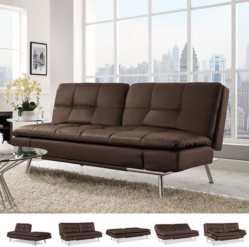 Ravenna Brown Bonded Leather Convertible Sofa Bed elegantly multi ...