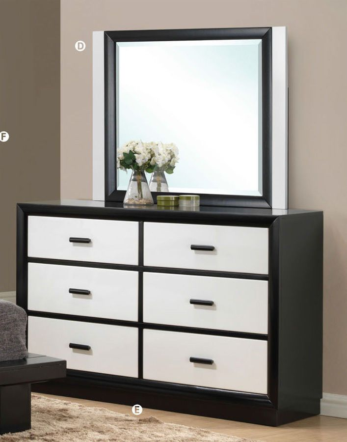 Debora Black White Contemporary 6 Drawer Dresser With Mirror Acme