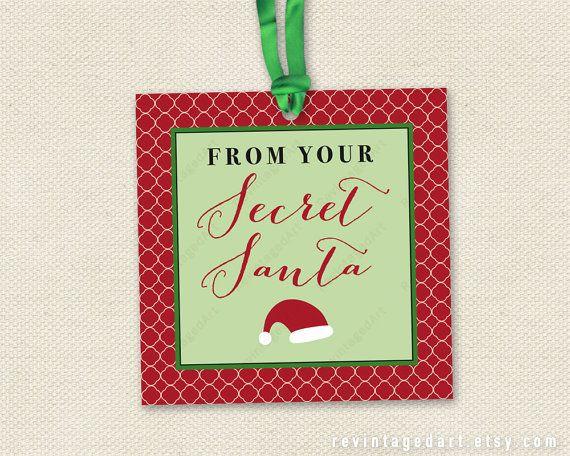 Secret Santa Tags Printable Christmas Gift Tags For Work Etsy Christmas Gift Tags Printable Santa Gift Tags Printable Santa Tag