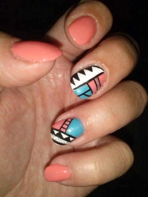 Aztec nail design   Nails   Pinterest   Aztec nail designs, Aztec ...