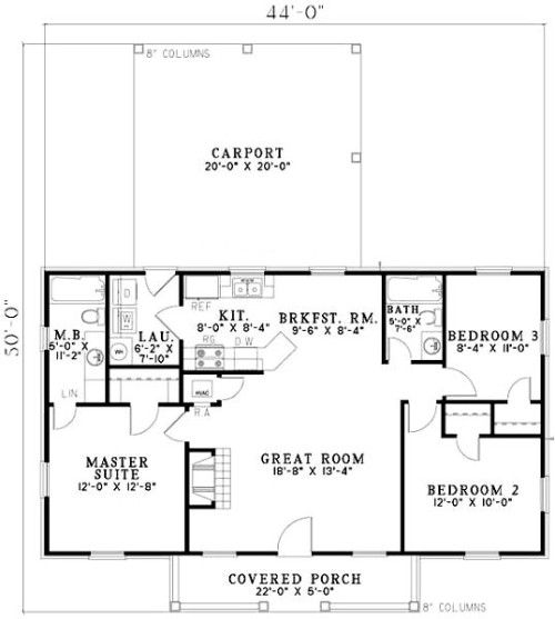 Perfect Ranch Style House Plan   3 Beds 2 Baths 1100 Sq/Ft Ceiling Height Only 8 Ft  But Layout Is Nice