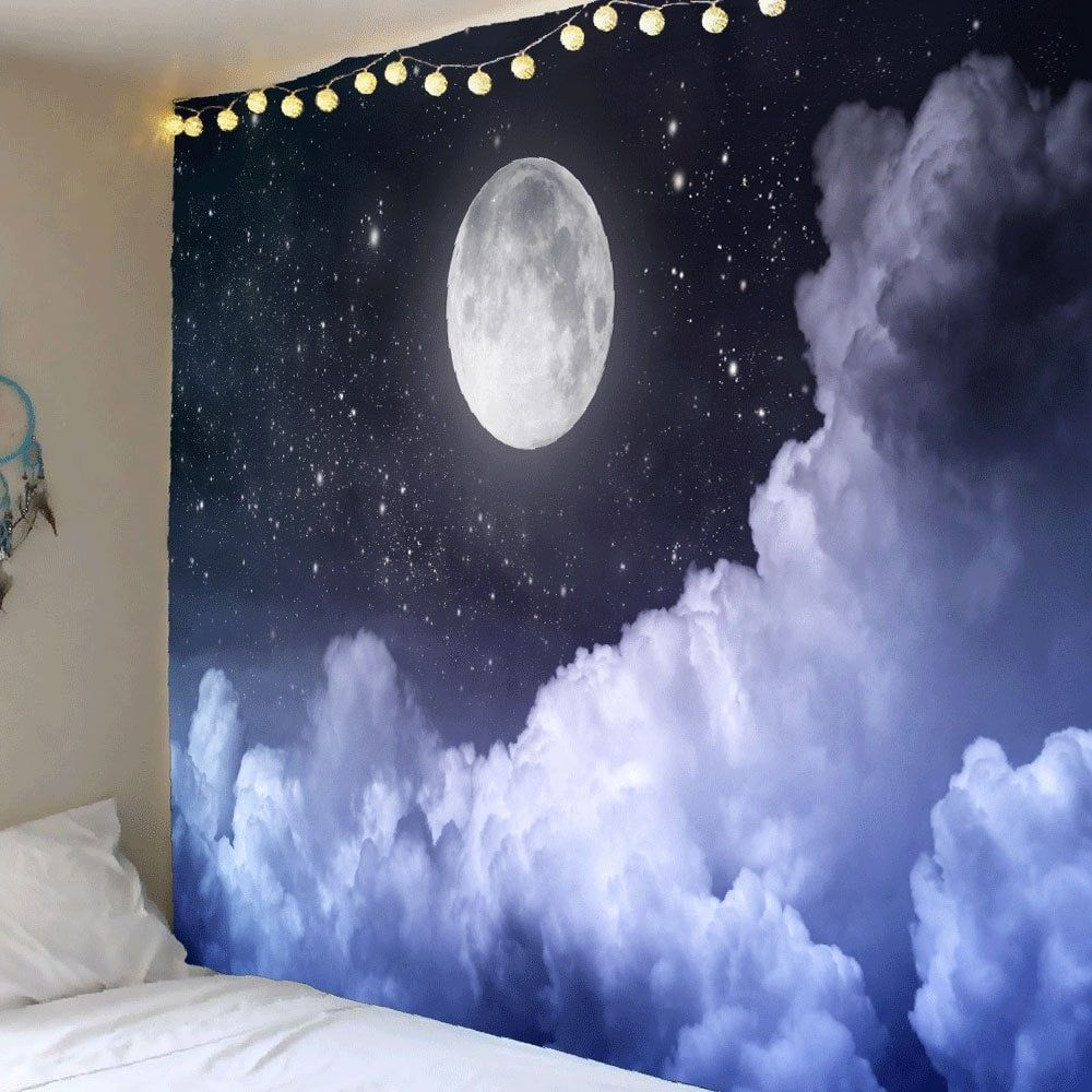 clouds moon starry sky printed wall art tapestry on walls coveralls website id=84768
