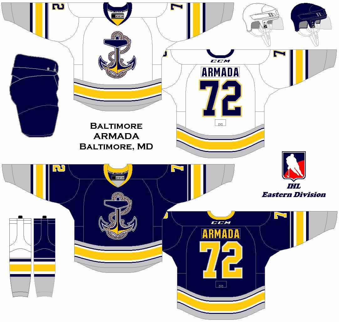 A Revival Of The International Hockey League Baltimore Armada Uniform Set Concept Hockey Uniforms Jersey Boys Team Jersey