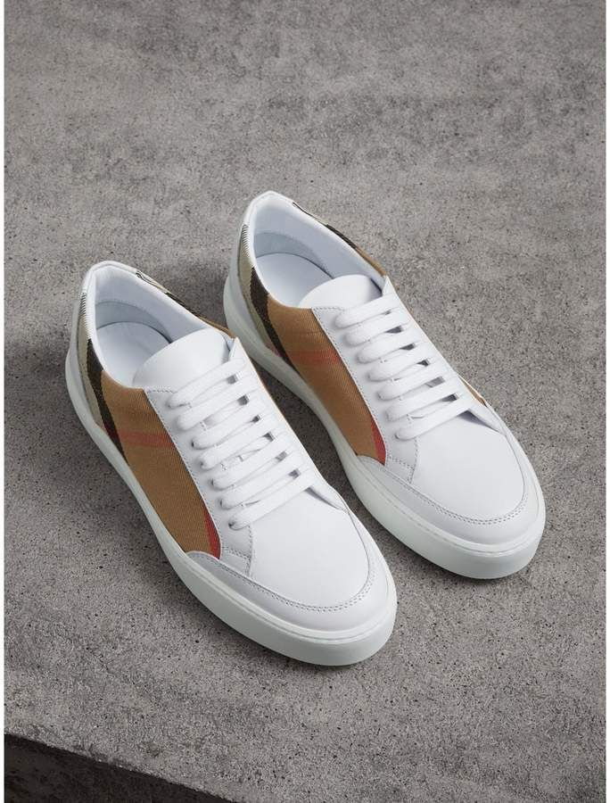 BurberryCalf Reeth Sneaker With Check And Logo qhvbM8cW