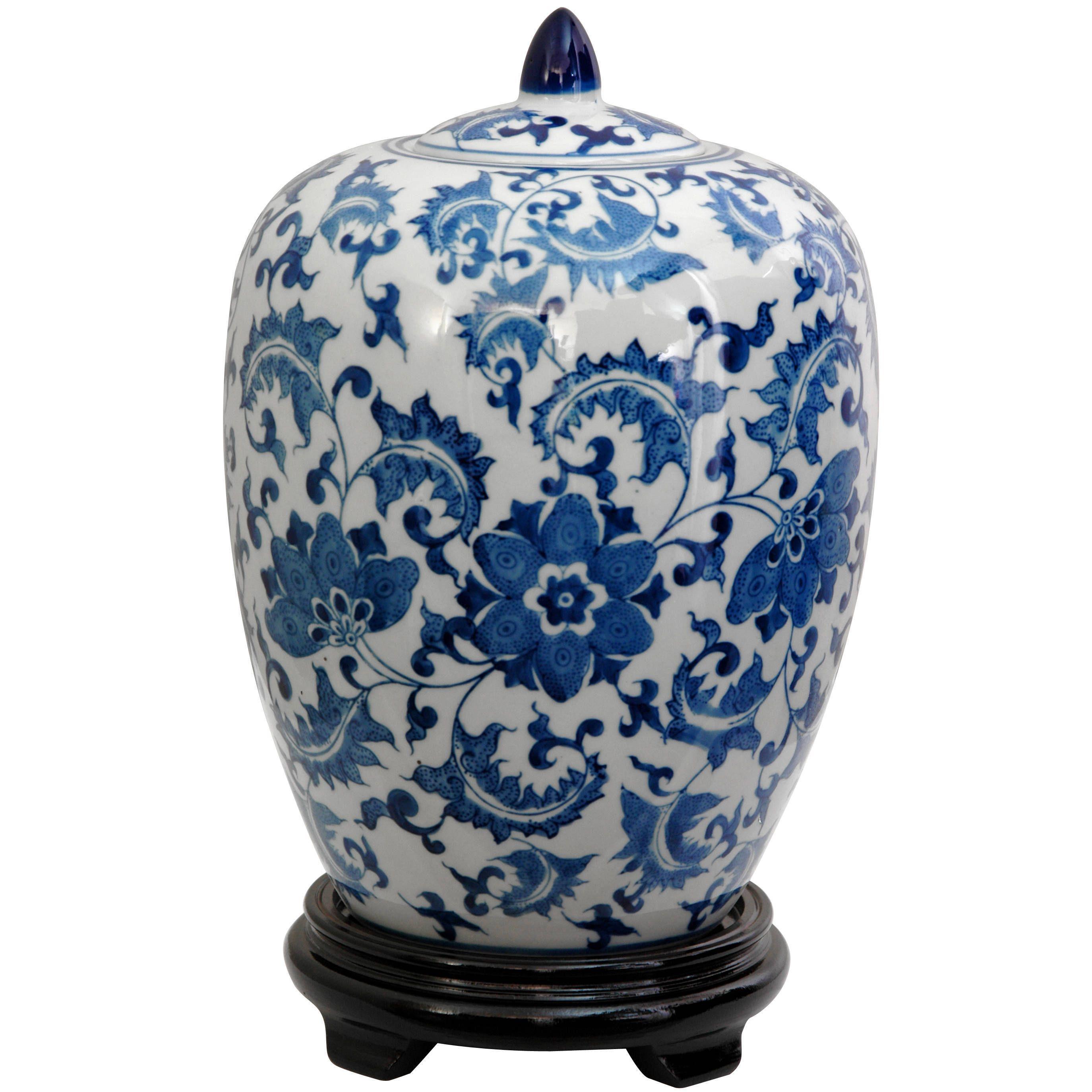 Handmade Porcelain 12 Inch Blue And White Fl Vase Jar