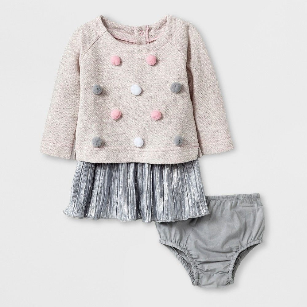 246fd23fc Baby Girls  Pom Pom Pullover - Cat   Jack Pink Silver 12 M