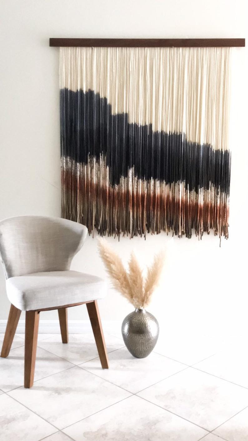 Wall Hangingfiber Artmid Century Modern Arttapestrywall Etsy Home Decor Yarn Wall Hanging Living Room Scandinavian