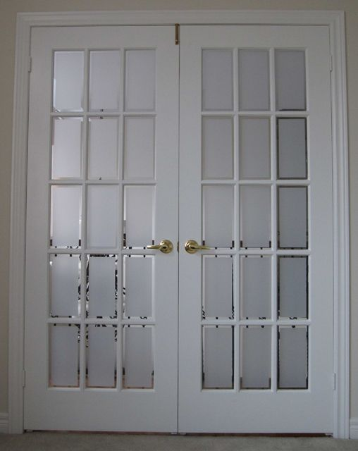 Interior Pocket Glass French Doors Of Bevelled Glass Close