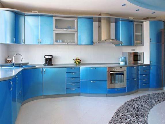 Дизайн кухни в синих и голубых тонах фото в 2019 г ...