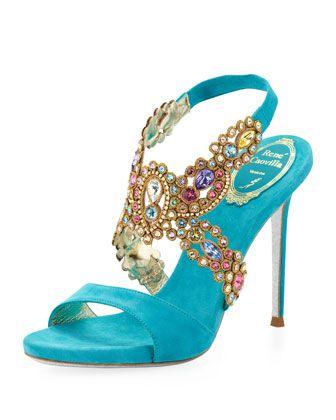Rene Caovilla Jeweled Halter Platform Sandal