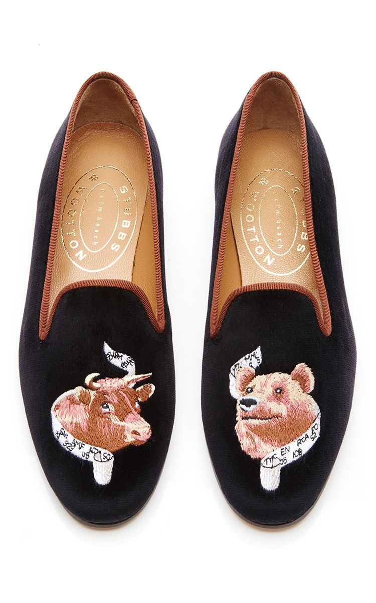 Black Embroidered Scotch Velvet Slippers Stubbs & Wootton
