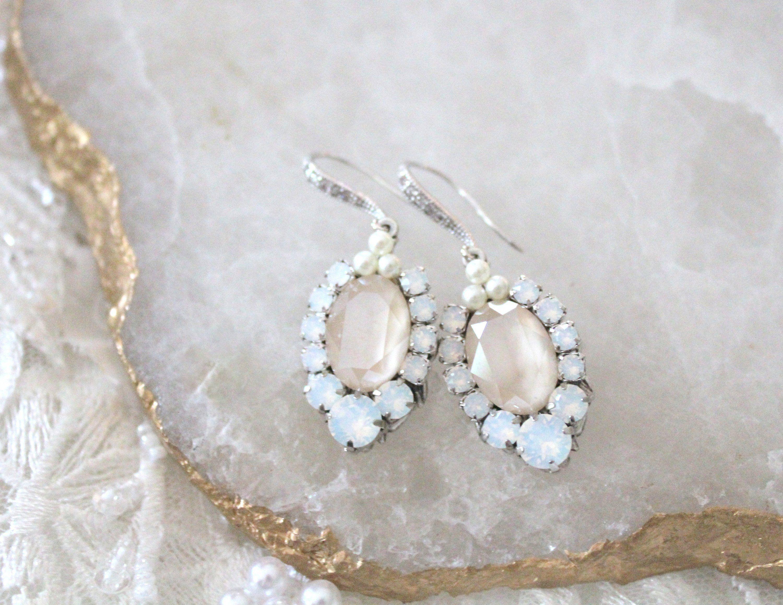 Crystal Bridal Earrings Bridal Jewelry Crystal Drop Earrings Oval Wedding Earrings Ivory Cream Swarovski Earrings White Opal Earrings White Opal Earrings Bridal Earrings Crystal Bridal Earrings