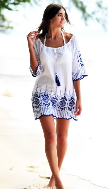 b9da78d3b64 Cocobay Embroidered White Kaftan in Lapis | Summer Time in 2019 ...