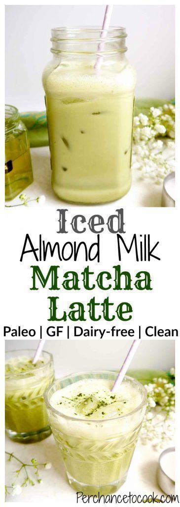 Iced Almond Milk Matcha Latte  A refreshing healthy green tea delight Naturally paleo and dairyfree This drink is creamy from the almond milk with a hint of sweetness fro...