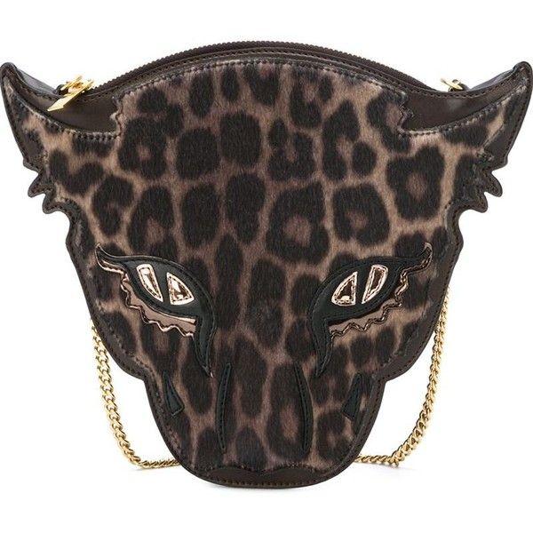 STELLA MCCARTNEY Wild Cat Crossbody Bag ($1,140) ❤ liked on Polyvore featuring bags, handbags, shoulder bags, chain shoulder bag, brown crossbody purse, leopard purse, leopard handbags and brown cross body purse