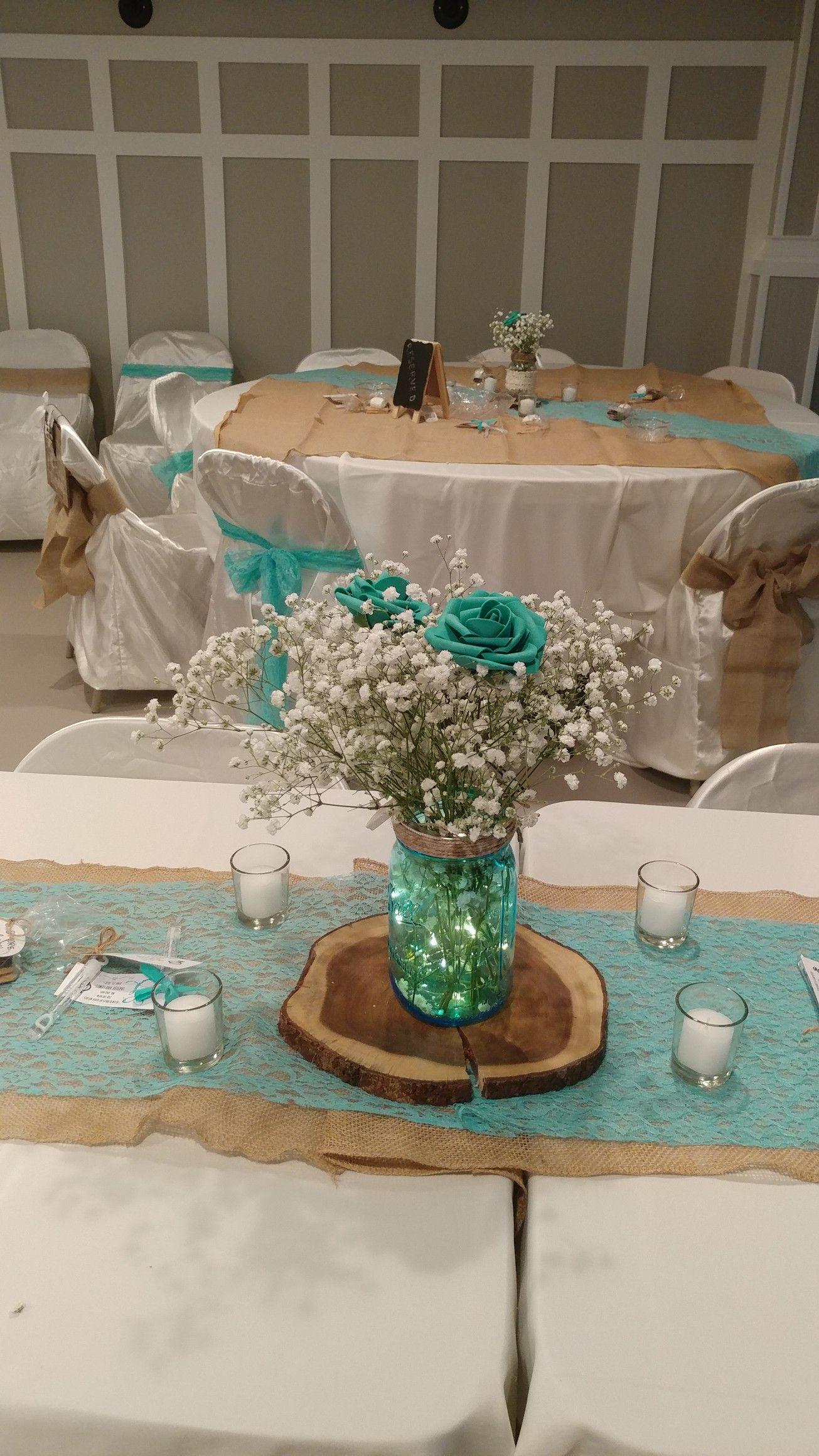 Teal Rustic Mason Jar Centerpiece Teal Wedding Decorations Teal Wedding Centerpieces Wedding Centerpieces Mason Jars